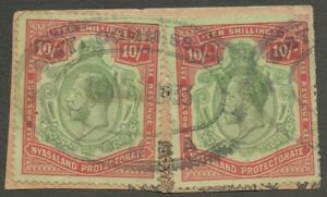 AOP Nyasaland  King George V 10sh x 2 fiscal used on piece SG 96 £320 for postal