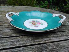 More details for vintage coalport china handled bowl teal blue floral bonbon dish signed d capey