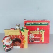 Vintage Christmas Decorative Fireplace Votive Candle Holder Santa By Fire Place