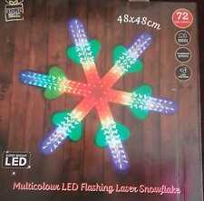 72 LED LIGHTS Laser Flashing Multi colour Snowflakes Decoration Lights