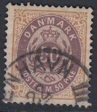 DENMARK: 1885 50 ore brown-purple and brown SG76 used