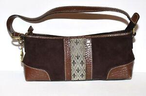 Liz Claiborne Crazy Horse Brown Faux Suede Croc Faux Leather Shoulder Bag Purse
