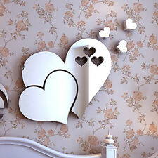 3D Mirror Removable Love Hearts Wall Sticker Decal DIY Home Room Art Mural Decor