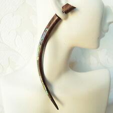 Split Taper Shell Inlaid in Wood Fake Gauge Earrings Faux Plugs Boho Jewelry XL