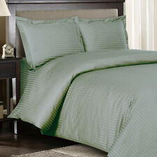 1500 Thread Count 100% Egyptian Cotton DUVET Set KING / CAL KING Sage Stripe