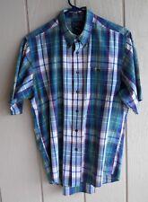 """Mens L Cambridge Classics Plaid Cotton Blend Short Sleeve Button Shirt Chest 50"""""""