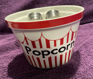 American Style Popcorn Bowl. With Salt Shakers. New.