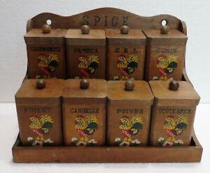 Antique Set To Spices Wooden Embellished Vintage Pots