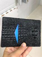 Crocodile Leather Credit Card Holder DOUBLE SIDE Genuine Alligator BLACK/BLACK
