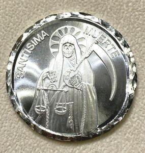 1 OZ .999 Silver DETAILED Medal SANTA MUERTE LADY OF THE SHADOWS BULLION Bar