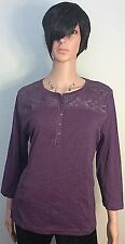 Chaps Women Size XL Scoop-neck Embroidery Embellished Pullover 3/4 Sleeves
