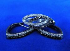 14K WGold White & Black Diamond Ring & Earrings 1.86ct.