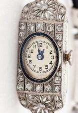 Antique 1920s $10K 3ct Old Euro Diamond Blue Sapphire Platinum Ladies Watch RARE