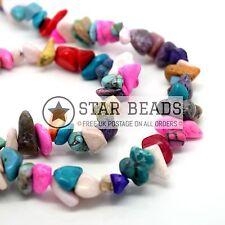 """34"""" STRAND SYNTHETIC MIX TURQUOISE GEMSTONE CHIPS 250+ BEADS 5-8MM"""