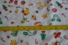 By 1/2 Yd, Red Green Gold on White Christmas Theme Cotton, Daisy Kingdom, N1442