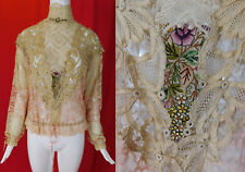 Vintage Victorian Style Antique Patchwork Mixed Lace Embroidered Rosette Blouse
