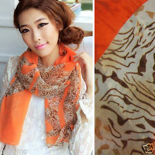 Fashion Orange Leopard Print Spotted Striped Women Light Long Scarf Wrap Shawl
