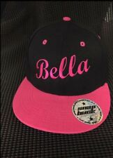 Kids Flat Brim Snap Back Hat Cap Personalised With Embroidered Name Gift Present