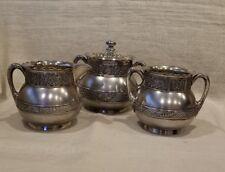 Antique Quadruple Silver Plate Pairpoint Tea Set Creamer,Sugar and Waste bowls