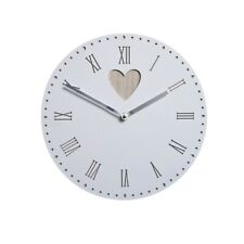 Round White Wooden Wall Clock with Heart Detail 30 cm Battery Roman Numerals