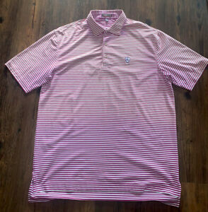 Peter Millar Summer Comfort Mens Casual Golf Polo Sz L Two Toned Purple/White