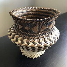 Fine Handmade Woven Basket Intricate Weave Design Sweet Grass Native Art