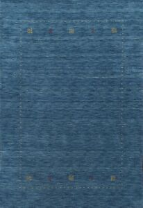 Bordered Gabbeh Oriental Area Rug Hand-knotted Wool Blue FOYER Carpet 5x7 ft