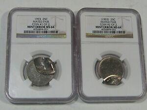 BU 1993 MATED PAIR ERROR Quarters (2 Coins) NGC MS64.  #61