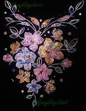 "Hotfix Rhinestones Heat Transfer Iron On "" Beautiful Flower Bling """