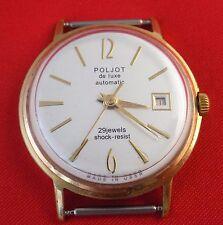 Poljot De luxe Wrist watch Automatic 29 jewels shock resist GOLD PLATED USSR