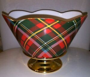 """Vintage """"Teleflora"""" Vase Bowl Accented 22K Gold Base Plaid-Green/Red/Yellow"""