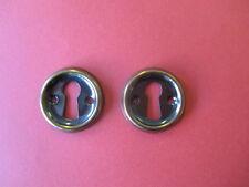 Schlüsselschild (2 Stück) rund 28mm braun/goldfarbig