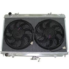 "Aluminum Radiator + 12"" Fans For 89-94 240SX S13 KA24E KA24DE RB20 Manual"