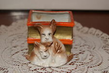 VINTAGE...CERAMIC....SCOTTY DOGS, SITTING IN FRONT OF 2 BOOKS....PLANTER...JAPAN