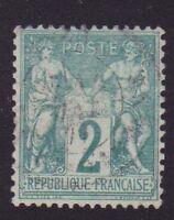 """FRANCE N°62 """" SAGE 2c VERT TYPE I """" OBLITERE TTB"""