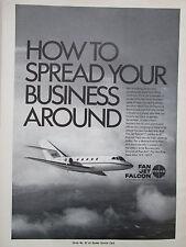6/1969 PUB PAN AM BUSINESS JETS DASSAULT FAN JET FALCON EXECUTIVE  ORIGINAL AD