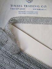 "3 yards European Silver Metallic Straight Edge Lace  13/16"" Trim"