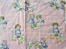 CLEARANCE FQ OLD FASHIONED CHILDREN PLAYING DUCKS DOG GINGHAM FABRIC