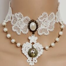 White Lace Pearl Vintage Victorian Burlesque Bridal Choker Necklace