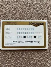 Vintage Longines Watch Certificate of Origin Guarantee Warranty Card Authentic
