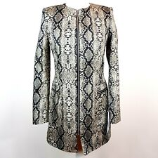 ZARA Snakeskin Print Long Jacket US S Pockets Chic On Trend Evening Cocktail NWT