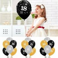 12inch Printed Latex Birthday Age Balloon Gold And Silver Black Party Gift Decor