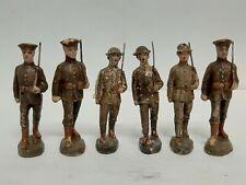 "6x Vintage Elastolin Composition Toy Soldier Figure German Army 4"" Guard"