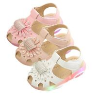 Summer LED Kids Girl LED Light Crib Shoes Leather Sneakers Soft Trainers