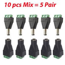 10x 2.1mm Male Female DC 12V Power Plug Jack Socket Screw Terminal CCTV Adaptors