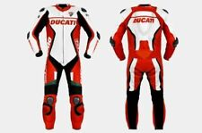 WHITE /RED DUCATI CORSE MOTORBIKE RACING LEATHER SUIT CE APPROVED