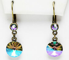 KIRKS FOLLY RAVISHING RIVOLI LEVERBACK EARRINGS Swarovski Crystal Paradise Shine