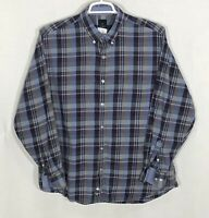 Mens Tailorbyrd 2XL XXL Blue Burgundy Plaid Long Sleeve Button Front Shirt