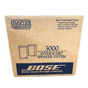 Vintage BOSE 3000 Interaudio Speakers Black Round Trim NOS Deadstock OPEN BOX