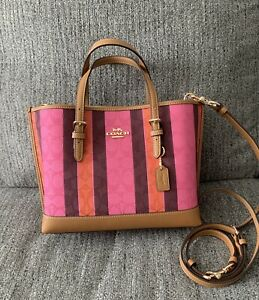 Coach C4086 Mollie Tote 25 In Signature Jacquard With Stripes Pink Burgundy